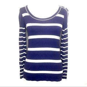 Loft elegant pin-up stripe button cotton sweater